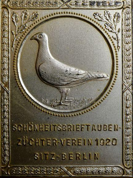 1920-Plakette-Schonheitsbrieftauben-Zuchterverein-Berlin